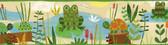Kermis Frog Marsh Toss Green Border Wallpaper TOT46331B