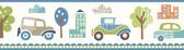 Gatsby City Scape Trail Blue Border Wallpaper TOT46342B