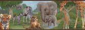 Afrique Jungle Bedtime Portrait Blue Border Wallpaper TOT46371B