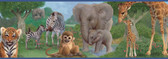 Afrique Jungle Bedtime Portrait Blue Border Wallpaper TOT46372B