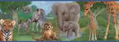 Afrique Jungle Bedtime Portrait Blue Border Wallpaper TOT46372B