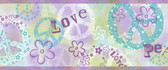 Janis Peace Love Toss Mauve Border Wallpaper TOT46381B