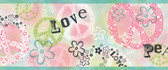 Janis Peace Love Toss Turquoise Border Wallpaper TOT46382B