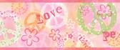 Janis Peace Love Toss Pink Border Wallpaper TOT46383B