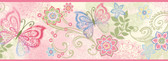 Fantasia Boho Butterflies Scroll Pink Border Wallpaper TOT46451B