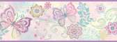 Fantasia Boho Butterflies Scroll Iris Border Wallpaper TOT46452B
