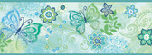 Fantasia Boho Butterflies Scroll Blue-Green Border Wallpaper TOT46453B