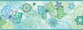 Fantasia Boho Butterflies Scroll Blue-Green Border Wallpaper TOT46453B