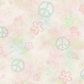 Joplin Peace Flowers Toss Flamingo Wallpaper TOT47172