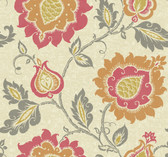 beige, coral, persimmon orange, mustard yellow, steel grey Carey Lind Vibe  Jaco Floral Wallpaper