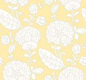 butter yellow, pale grey, white Carey Lind Vibe  Chunky Floral Wallpaper
