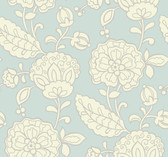 pale aqua, eggshell, silver Carey Lind Vibe  Chunky Floral Wallpaper