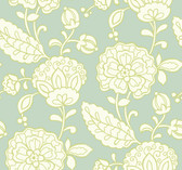 sea foam green, white, lime green Carey Lind Vibe  Chunky Floral Wallpaper