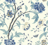 white, chambray blue, marine blue, navy blue, aqua, khaki Carey Lind Vibe  Teahouse Floral Wallpaper