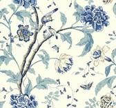 white, chambray blue, marine blue, navy blue, aqua, khaki Carey Lind Vibe  Teahouse Floral Wallpaper