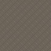 earthy brown, shining silver Carey Lind Vibe  Greek Key Wallpaper