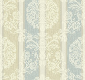 ecru, aqua, cream, white, champagne sheen Carey Lind Vibe  Woven Damask Stripe Wallpaper