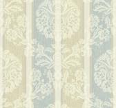 ecru, aqua, cream, white, champagne sheen Carey Lind Vibe  Woven Damask Stripe Wallpaper