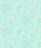 Capri Aqua Floral Scroll