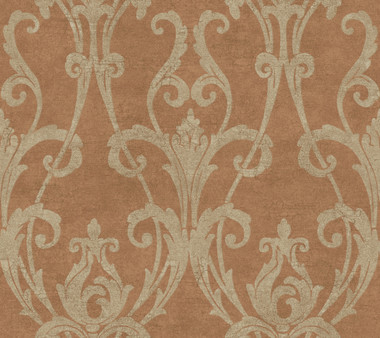 Weatherby Woods Ogee Damask Wallpaper Copper Cinnamon/Putty