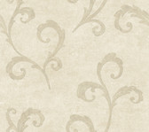 Weatherby Woods Distressed Scroll Wallpaper Off White/Pearl Taupe