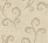 Weatherby Woods Distressed Scroll Wallpaper Cream/Silvery Taupe