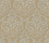 Weatherby Woods Textured Damask Wallpaper Gold/Smoky Gray