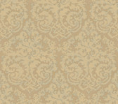Weatherby Woods Textured Damask Wallpaper Taupe/Buttercream Pearl/Spa Green