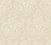 Weatherby Woods Textured Damask Wallpaper Silver/Cream