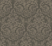 Weatherby Woods Textured Damask Wallpaper Silvery Charcoal Gray/Sage