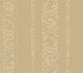Weatherby Woods Textured Stripe Wallpaper Taupe/Buttercream Pearl/Spa Green