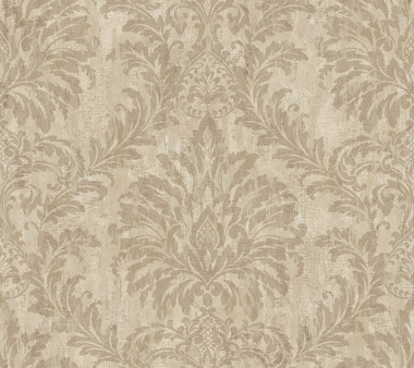 Weatherby Woods Stucco Damask Wallpaper Taupe/Putty/Mocha Tan