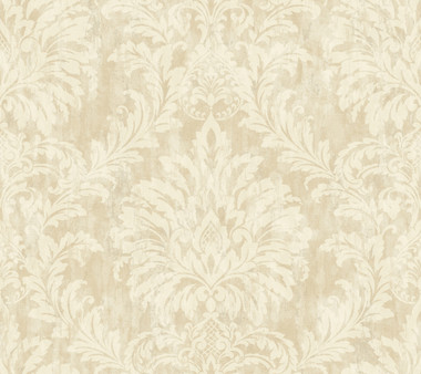 Weatherby Woods Stucco Damask Wallpaper Vanilla/Tan/Chalk White