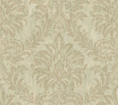 Weatherby Woods Stucco Damask Wallpaper Green/Seafoam/Golden Brown