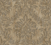 Weatherby Woods Stucco Damask Wallpaper Brown/Charcoal/Copper Rust