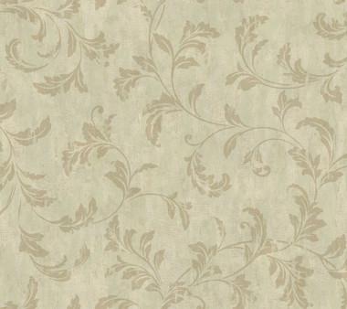 Weatherby Woods Stucco Scroll Wallpaper Green/Seafoam/Golden Brown