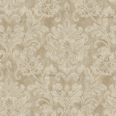 Weatherby Woods Sophisticated Damask Wallpaper Khaki/Brown/Off White