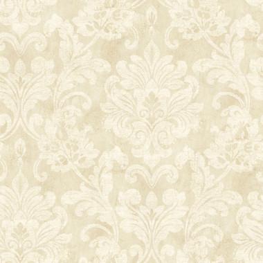 Weatherby Woods Sophisticated Damask Wallpaper Vanilla/Mocha/White