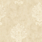 Weatherby Woods Sophisticated Medallion Wallpaper Cr������������_����������������������������__������������_������������������������������������������������me/Beige/White
