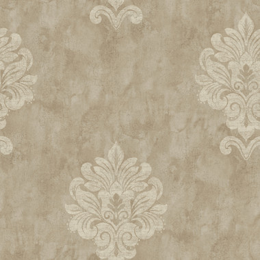Weatherby Woods Sophisticated Medallion Wallpaper Khaki/Brown/Off White