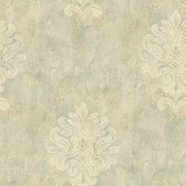 Weatherby Woods Sophisticated Medallion Wallpaper Seafoam Green/Beige/Crme