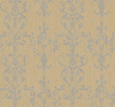 Weatherby Woods Distressed Damask Scroll Wallpaper Gold Glitter/Graphite Gray
