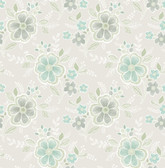 Chloe Aquamarine Floral  2657-22201 Wallpaper