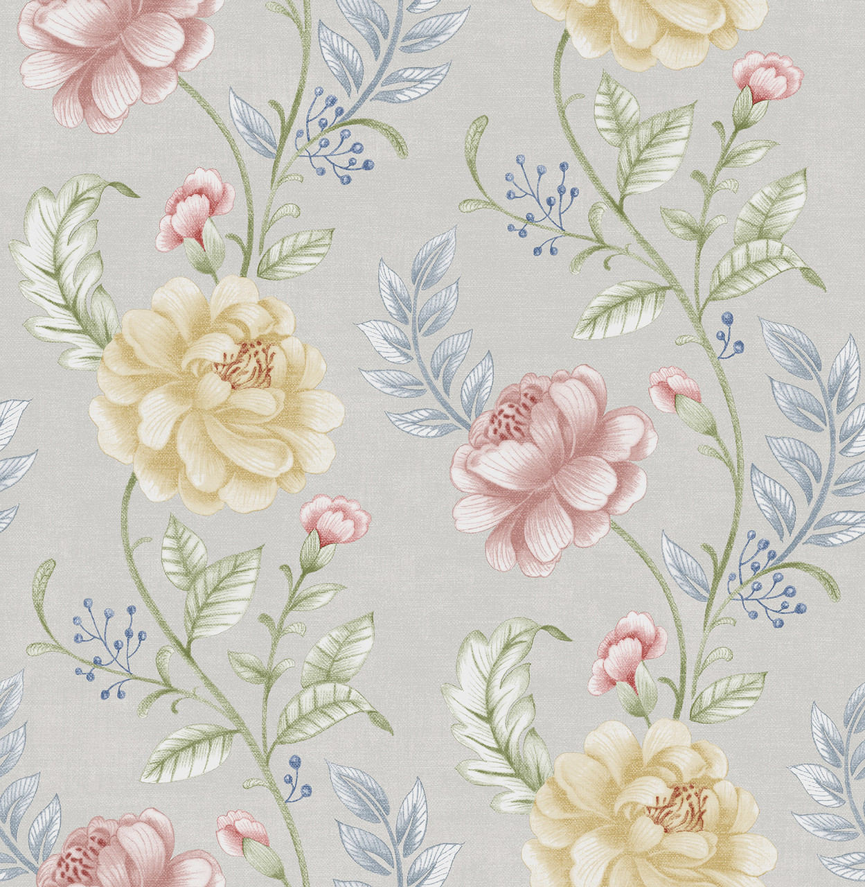 Summer Palace Grey Floral Trail 2669 21758 Wallpaper