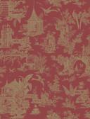 Zen Garden Red Toile  wallpaper