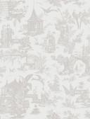 Zen Garden White Toile  wallpaper