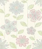 Maisie Green Batik Flower  wallpaper