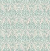 Waverly Turquoise Petite Damask  wallpaper
