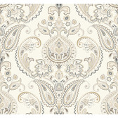 ND7079-Candice Olson Inspired Elegance Tasara Wallpaper in Cream, Brown, and Grey