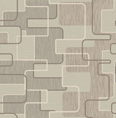 Integrate Taupe Geometric  Contemporary Wallpaper